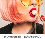 Closeup Lips Of Young Beautiful ...
