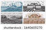 vineyards set. vine plantation...   Shutterstock .eps vector #1640605270