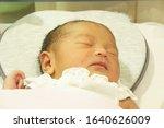 Small photo of Bekasi city, Indonesia, 23 February 2020 : a healthy and cute newborn baby in Hermina Hospital.