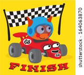 a cute animal driving a race... | Shutterstock .eps vector #164063870