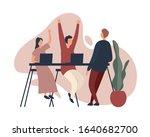 coworkers celebrating success...   Shutterstock .eps vector #1640682700