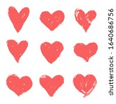 set of pink  red hand drawn... | Shutterstock .eps vector #1640686756