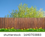 spring flowers and wooden... | Shutterstock . vector #1640703883