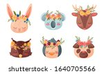 animal muzzles and heads with... | Shutterstock .eps vector #1640705566