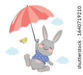 sweet bunny flying with little... | Shutterstock .eps vector #1640719210