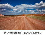 a red clay road in a aluminium... | Shutterstock . vector #1640752960