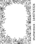 floral black and white vintage... | Shutterstock .eps vector #1640765326