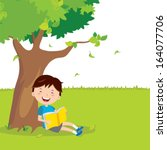 outdoor reading. a boy is... | Shutterstock .eps vector #164077706