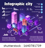 isometric neon city... | Shutterstock .eps vector #1640781739