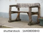 Ancient rural bench from logs....