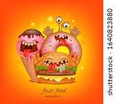 fast food menu concept. burger  ... | Shutterstock .eps vector #1640823880