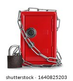 Red Steel Safe With Chain And...