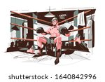 boxer getting ready before... | Shutterstock .eps vector #1640842996