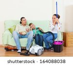 portrait of tired family ... | Shutterstock . vector #164088038