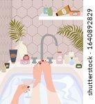 girl relaxes in bath with foam. ... | Shutterstock .eps vector #1640892829