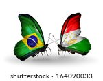 two butterflies with flags on... | Shutterstock . vector #164090033