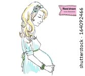 illustration of pregnant woman... | Shutterstock .eps vector #164092466