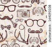 vector hipster seamless pattern ... | Shutterstock .eps vector #164093108
