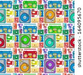 Funky 80's Themed Audio Equipment Seamless Tile. Super retro Styled illustration of Retro Funky 80's Themed Audio Equipment pattern creating a seamless tile. Works as an amazing screensaver.  - stock vector