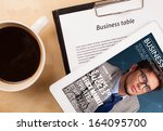 workplace with tablet pc... | Shutterstock . vector #164095700