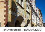 Small photo of Beautifuly painted historic town houses in the town of Ladek Zdroj in Poland.