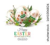 modern easter folk greeting... | Shutterstock .eps vector #1641006826