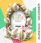 easter card with colorful eggs  ... | Shutterstock .eps vector #1641006829