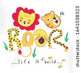 roar cute with lion and tiger... | Shutterstock .eps vector #1641038323