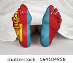 feet with flag  sleeping or... | Shutterstock . vector #164104928