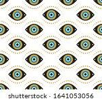 evil eyes seamless pattern.... | Shutterstock .eps vector #1641053056