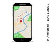 map gps navigation in mobile... | Shutterstock .eps vector #1641168019
