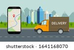 delivery truck with online...   Shutterstock .eps vector #1641168070