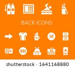 back icon set. 14 filled back...