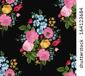 Seamless vector vintage pattern with Victorian bouquet of colorful flowers on a black background. Pink roses, tulips, blue delphinium with green leaves. - stock vector