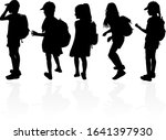 silhouettes of a children with... | Shutterstock . vector #1641397930