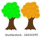 a pair of vector trees in... | Shutterstock .eps vector #16414195