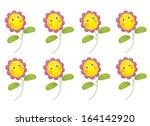 cartoon flowers isolated  ... | Shutterstock . vector #164142920