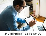 elegant business multitasking... | Shutterstock . vector #164143406