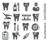 dental icons set on white...   Shutterstock .eps vector #1641500206