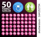 50 family icons on circular... | Shutterstock .eps vector #164152754