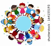 group of children standing... | Shutterstock .eps vector #164155193