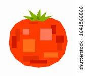 red tomato  pixel flat design | Shutterstock .eps vector #1641566866