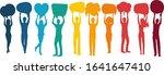 silhouette group of volunteer... | Shutterstock .eps vector #1641647410