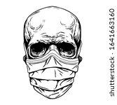 skull face in medical face mask.... | Shutterstock .eps vector #1641663160