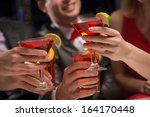 close up of hands with glasses  ... | Shutterstock . vector #164170448