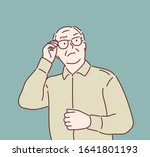stern old man. hand drawn style ...   Shutterstock .eps vector #1641801193
