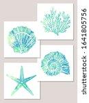 set of sea elements in blue... | Shutterstock .eps vector #1641805756