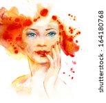 watercolor fashion illustration ... | Shutterstock . vector #164180768