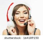 Christmas Santa Woman Close Up...