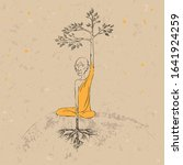 monk and tree. heaven and earth.... | Shutterstock .eps vector #1641924259